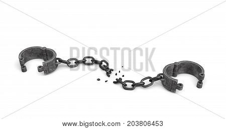 3d rendering of a pair of open metal shackles with a broken chain link on white background. Breakthrough. Getting out. Freedom and future.
