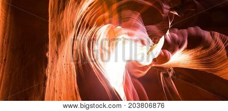 Abstract red sandstone shapes in Antelope Canyon, Arizona