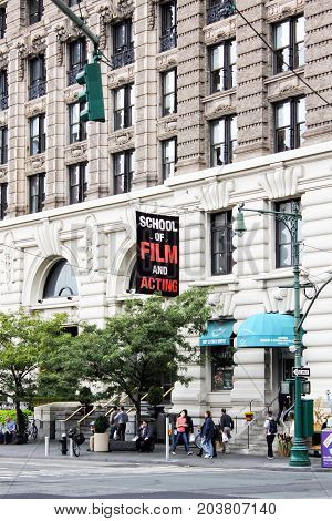 New York USA - 28 September 2016: New York Film Academy - School of Film and Acting (NYFA) building located at 17 Battery Place New York City.