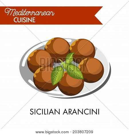 Sicilian arancini with natural herb served on shiny plate isolated cartoon flat vector illustration on white background. Delicious rice balls with filling from stew and covered with crispy crust.