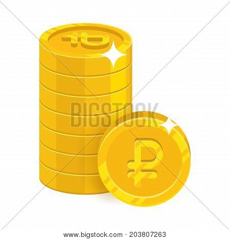Piles gold rubles isolated cartoon icon. Heap of gold rubles and ruble sign for designers and illustrators. Gold stacks of pieces in the form of a vector illustration
