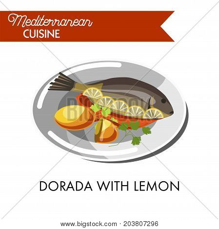Dorada with lemon, red sauce and fresh greenery on shiny plate isolated vector illustration on white background. Whole delicious sea carp baked with spices and served with fresh sour fruit slices.