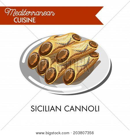 Sweet sicilian cannoli sprinkled with powder isolated vector illustration on white background. Waffle tube filled with ricotta cheese stuffing and various syrups, marsala wine or rose water.