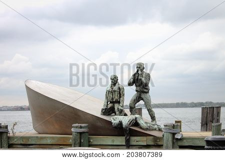New York USA - 28 September 2016: American Merchant Mariner's Memorial located at Battery Park in downtown Manhattan.