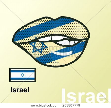 Vector illustration of lip painted Israel flag isolated foreign language national symbols