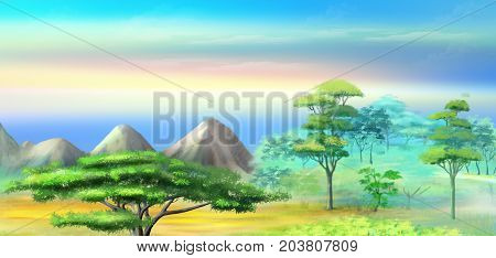 Panorama of African Savannah in a Hot Summer morning. Acacia Tree in a Mountains at sunrise. Digital Painting Background Illustration in cartoon style character.