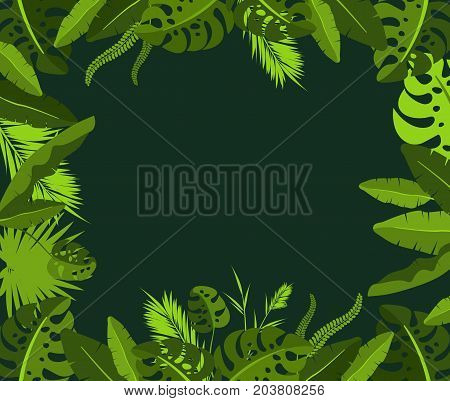 Vector illustration of square frame with tropical leaves of exotic plants on black background