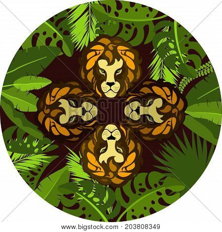 Vector illustration of round frame exotic plants and tropical leaves of the jungle showing four face Lion hunter emblem