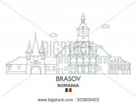 Brasov Linear City Skyline Romania. Famous place