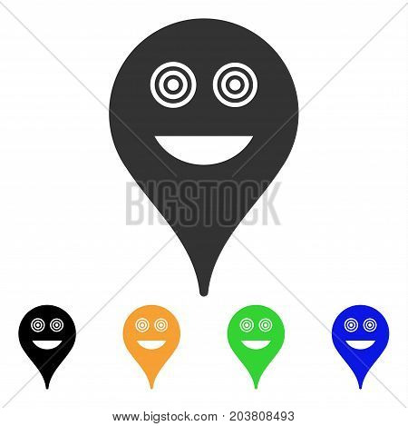 Crazy Smiley Map Marker icon. Vector illustration style is a flat iconic crazy smiley map marker symbol with black, grey, green, blue, yellow color versions. Designed for web and software interfaces.