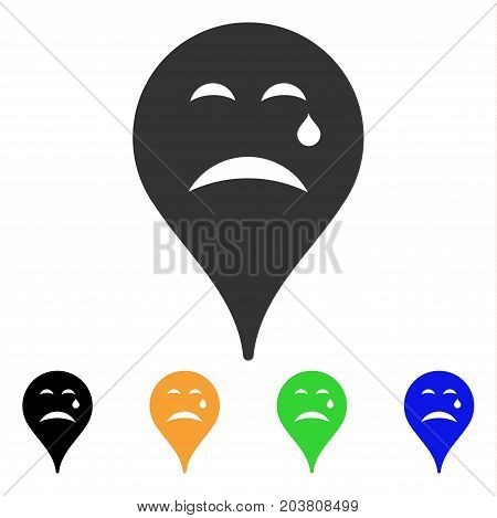 Cry Smiley Map Marker icon. Vector illustration style is a flat iconic cry smiley map marker symbol with black, gray, green, blue, yellow color versions. Designed for web and software interfaces.