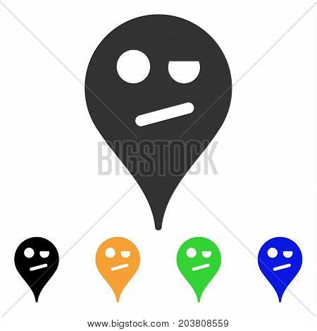 Infidelity Smiley Map Marker icon. Vector illustration style is a flat iconic infidelity smiley map marker symbol with black, gray, green, blue, yellow color variants.