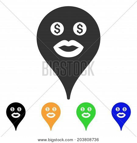 Prostitute Smiley Map Marker icon. Vector illustration style is a flat iconic prostitute smiley map marker symbol with black, gray, green, blue, yellow color variants.