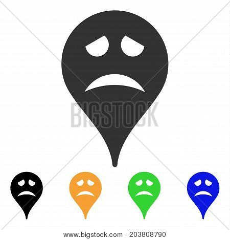 Sadly Smiley Map Marker icon. Vector illustration style is a flat iconic sadly smiley map marker symbol with black, grey, green, blue, yellow color versions. Designed for web and software interfaces.