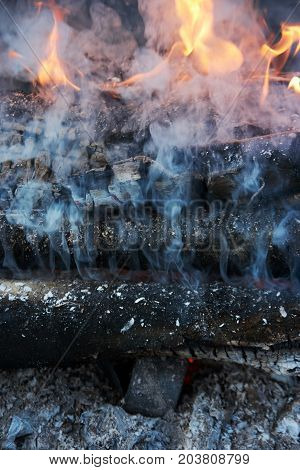 charred logs in the fire. Fire in the open air close-up
