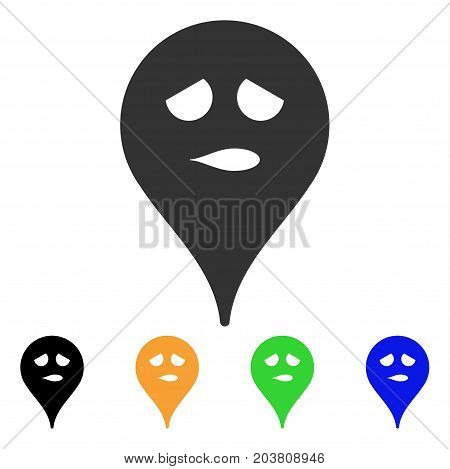Thinking Smiley Map Marker icon. Vector illustration style is a flat iconic thinking smiley map marker symbol with black, grey, green, blue, yellow color versions.