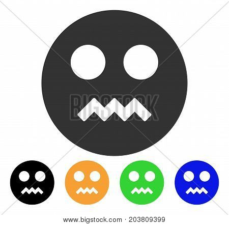 Angry Smiley icon. Vector illustration style is a flat iconic angry smiley symbol with black, grey, green, blue, yellow color variants. Designed for web and software interfaces.