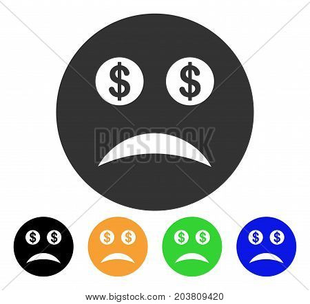Bankrupt Smiley icon. Vector illustration style is a flat iconic bankrupt smiley symbol with black, grey, green, blue, yellow color variants. Designed for web and software interfaces.