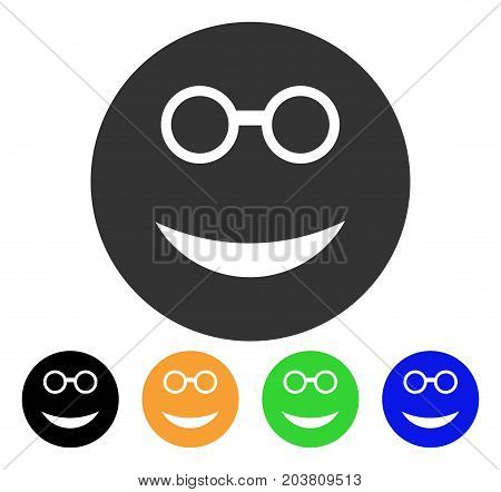 Clever Smiley icon. Vector illustration style is a flat iconic clever smiley symbol with black, gray, green, blue, yellow color versions. Designed for web and software interfaces.