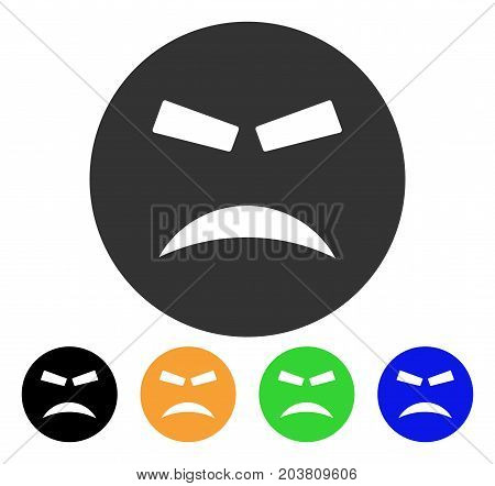 Furious Smiley icon. Vector illustration style is a flat iconic furious smiley symbol with black, grey, green, blue, yellow color versions. Designed for web and software interfaces.