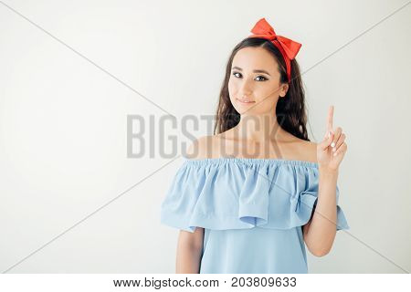 Happy Smiling Beautiful Young Woman Showing Copyspace Visual Imaginary