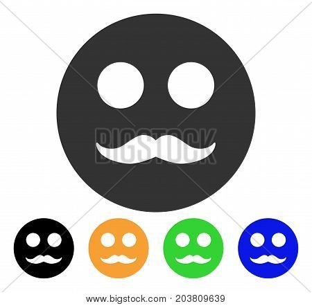 Gentleman Smiley icon. Vector illustration style is a flat iconic gentleman smiley symbol with black, grey, green, blue, yellow color versions. Designed for web and software interfaces.