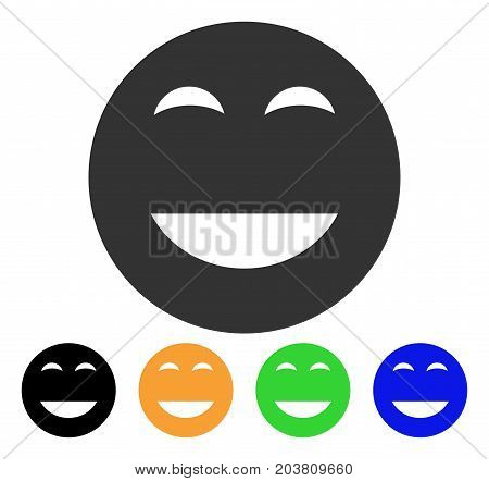 Glad Smiley icon. Vector illustration style is a flat iconic glad smiley symbol with black, gray, green, blue, yellow color variants. Designed for web and software interfaces.