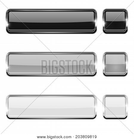 Black, white and silver buttons with chrome frame. Vector 3d illustration isolated on white background