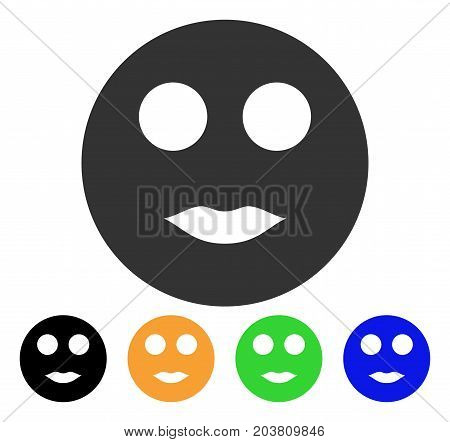 Lips Smiley icon. Vector illustration style is a flat iconic lips smiley symbol with black, grey, green, blue, yellow color versions. Designed for web and software interfaces.