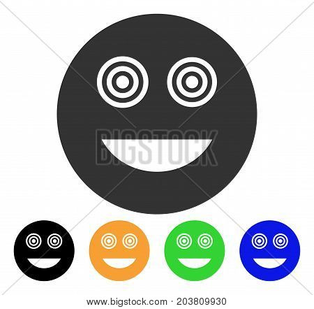 Mad Smiley icon. Vector illustration style is a flat iconic mad smiley symbol with black, grey, green, blue, yellow color versions. Designed for web and software interfaces.