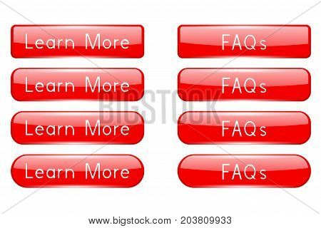 Red buttons LEARN MORE and FAQs. Oval web icons. Vector 3d illustration isolated on white background