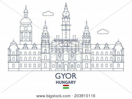 Gyor Linear City Skyline Hungary. Famous place