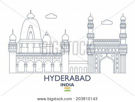 Hyderabad Linear City Skyline India. Famous place