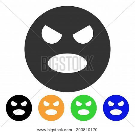 Scream Smiley icon. Vector illustration style is a flat iconic scream smiley symbol with black, gray, green, blue, yellow color versions. Designed for web and software interfaces.