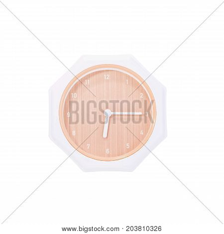 Closeup brown wall clock for decorate show a quarter past six or 6:15 a.m. isolated on white background with clipping path