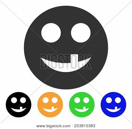 Toothless Smiley icon. Vector illustration style is a flat iconic toothless smiley symbol with black, grey, green, blue, yellow color versions. Designed for web and software interfaces.