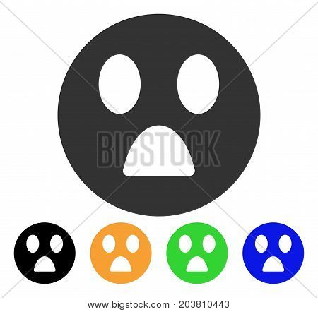Wonder Smiley icon. Vector illustration style is a flat iconic wonder smiley symbol with black, grey, green, blue, yellow color variants. Designed for web and software interfaces.
