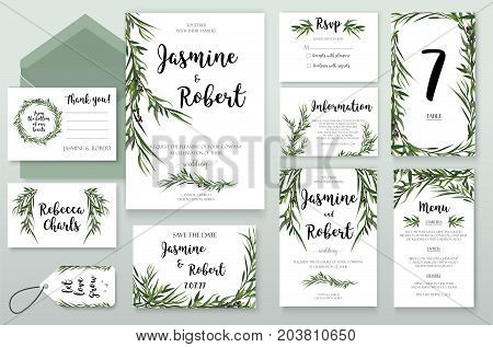 Wedding Invitation invite card Design with willow Eucalyptus green agonis branches leaves foliage composition greenery wreath. Vector Botanical Template forest elegant cute set Anniversary collection