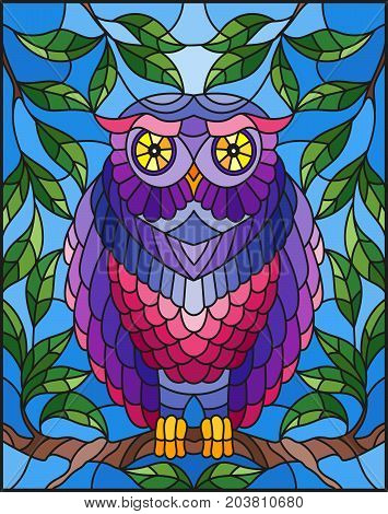 Illustration in stained glass style with fabulous colourful owl sitting on a tree branch against the sky