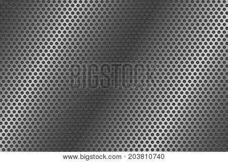 Metal perforated steel background. Vector 3d illustration