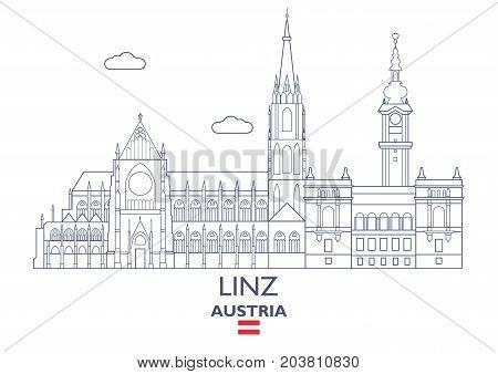 Linz Linear City Skyline Austria. Famous place