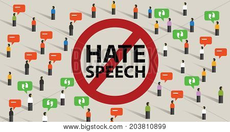 stop hate speech conflict violence start from comments aggressive communication by crowd vector