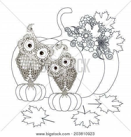 Monochrome doodle hand drawn pumpkins with owls and flowers. Anti stress stock vector illustration