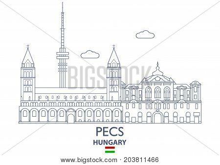 Pecs Linear City Skyline Hungary. Famous place