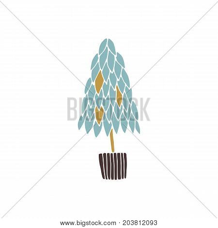 Vector hand drawn isolated element, topiary. Christmas tree in a pot. Simple modern design, scandinavian style. For holiday cards, decorations, templates. Part of a large winter collection.