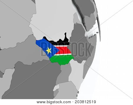 Map Of South Sudan With Flag