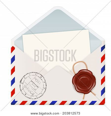 Open envelope with wax seal and postmark. Vector 3d illustration isolated on white background
