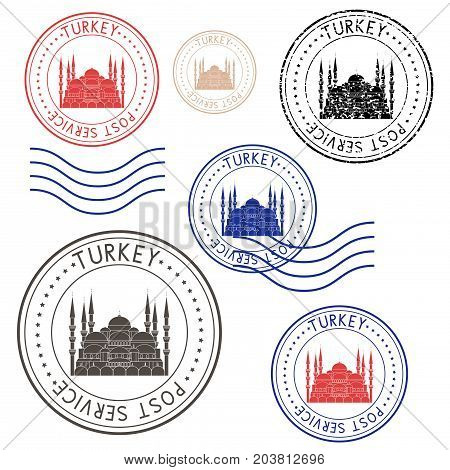 Round colored postmarks from Turkey. With Blue Mosque image. Vector illustration isolated on white background