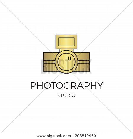 Vector thin line icon, camera silhouette. Logo template illustration for photographer, photography studio, shop or school. Isolated symbol. Simple mono linear modern design with golden foil.