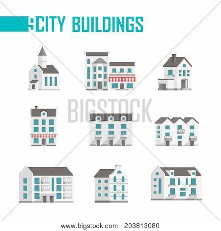 Nine city buildings set of icons - vector illustration on white background. A church, double, three-storey houses with facades, balconies, cafes or shops on the first floor. Various shapes of roofs